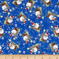 Season Greeting Jolly Santas Blue Metallic