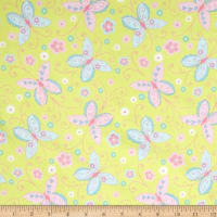 Comfy  Flannel Ornate Butterflies Green