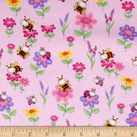 Comfy  Flannel Bugs & Flowers Pink