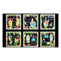 "Blessed Birdhouse Patches 24"" Panel Black"