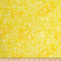 "QT Fabrics 108"" Wide Quilt Back Ombre Scroll Lemon"