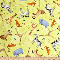 QT Fabrics The Migration Animal Toss Light Lime
