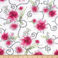 QT Fabrics Sweet Rebellion Peonies White