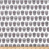 QT Fabrics Sweet Rebellion Sugar Skulls White