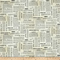 QT Fabrics Farm To Table Newsprint Cream