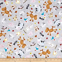 QT Fabrics Animal Farm Animal Toss Gray