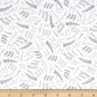 QT Fabrics Animal Farm Animal Sounds White/Gray