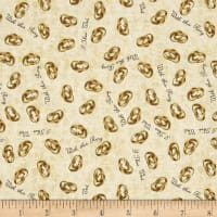QT Fabrics I Do Wedding Rings Champagne