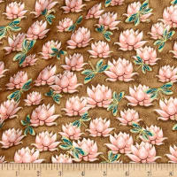 QT Fabrics Yuna Metallic Waterlilies Dark Tan