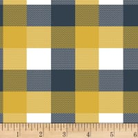 Bolt by Girl Charlee Homestead Life Jersey Knit Brienne Plaid Mustard/Blue/White