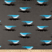 Birch Organic Charley Harper Western Birds Interlock Knit Mountain Bluebird Brown