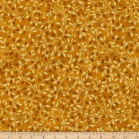 Kaufman Holiday Flourish Metallic Small Leaves Gold