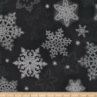 Kaufman Holiday Flourish Metallic Snowflakes Ebony