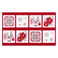 "Kaufman Holiday Flourish Metallic 24"" Block Panel Silver"