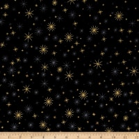 Kaufman Winter Grandeur Metallic Twinkle Black