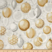 Kaufman Winter Grandeur Metallic Ornaments Champagne