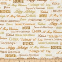 Kaufman Winter Grandeur Metallic Words Ivory