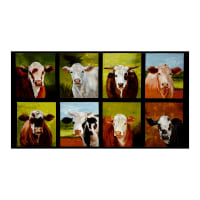 "Kaufman Down On The Farm 23.5"" Panel Cows Nature"