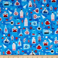 Kaufman Seaside Treasures Collage Blue