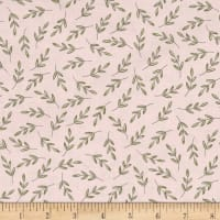 Kaufman Fawns & Friends Leaves Pink