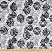 Kaufman Cotton Boucle Prints Medallion Grey