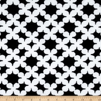Crepe Double Knit Stars Black and White
