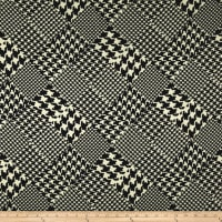 Europa  Silky Polyester Satin Shirting Black Mini and Large Houndstooth on Black