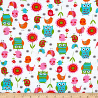 Fabric Merchants Cotton Jersey Knit Owls and Birds Multi