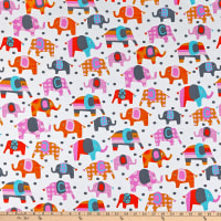 Fabric Merchants Cotton Stretch Jersey Knit Elephants Multi