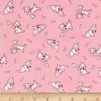 Nana Mae 1930's Tossed Puppies On Pink