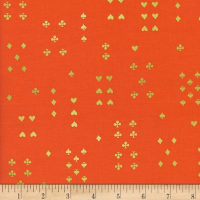 Cotton + Steel Rifle Paper Co. Wonderland Metallic Follow Suit Red