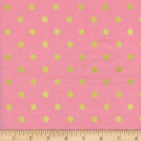 Cotton + Steel Rifle Paper Co. Wonderland Metallic Caterpillar Dots Pink