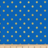 Cotton + Steel Rifle Paper Co. Wonderland Metallic Caterpillar Dots Cobalt