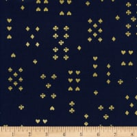Cotton + Steel Rifle Paper Co. Wonderland Lawn Metallic Follow Suit Navy