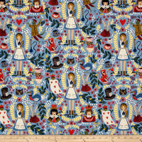 Cotton + Steel Rifle Paper Co. Wonderland Canvas Metallic Wonderland Light Blue