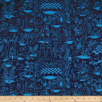 Cotton + Steel Rifle Paper Co. Wonderland Canvas Magic Forest Navy