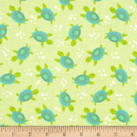 Timeless Treasures ABC's Under The Sea Turtles Green