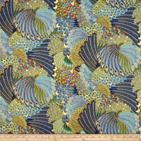 Timeless Treasures Alexandria Metallic Packed Feathers Multi