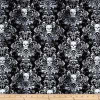 Timeless Treasures City Knits Jersey Knit Skull Damask Black