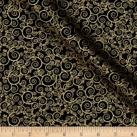 Timeless Treasures Christmas Morning Metallic Scroll Black