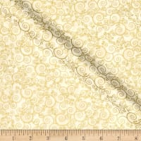 Timeless Treasures Christmas Morning Metallic Scroll Cream