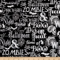 Fright Night Metallic Halloween Words Black