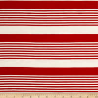 Rayon Spandex Jersey Knit Stripe Red/White