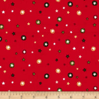 Modern Metallic Christmas Stars Red