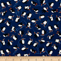 Novelty Christmas Penguins Blue