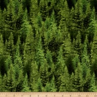 Oh Deer! Trees Allover Dark Green