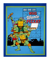 "Nickelodeon Teenage Mutant Ninja Turtles Retro TMNT Who Wants Pizza? 36"" Panel White"