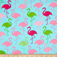 Stretch Jersey Knit Flamingo Party Aqua