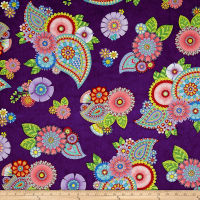 Night Bright Paisley and Floral Dark Purple