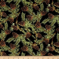 Christmas in the Wildwood Pinecones Black